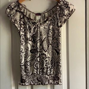 Brown and White Floral Short Sleeve Top  S